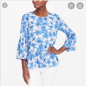 J.Crew factory blue poppy top medium